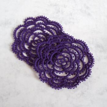 Goth Lace Rose Coasters - Set Of Two